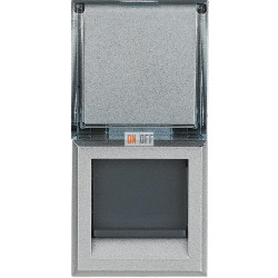 Розетка компьютерная 2-ая кат.6, RJ-45 (интернет), цвет Алюминий, Axolute, Bticino