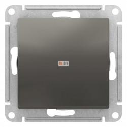 Выключатель 1-клавишный ,проходной (с двух мест), Сталь, серия Atlas Design, Schneider Electric