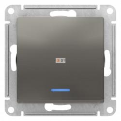 Выключатель 1-клавишный ,проходной с индикацией (с двух мест), Сталь, серия Atlas Design, Schneider Electric