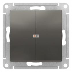 Выключатель 2-клавишный проходной (с двух мест), Сталь, серия Atlas Design, Schneider Electric