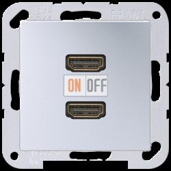 Розетка HDMI 2-ая (разъем), цветАлюминий,A500,Jung