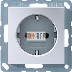 Розетка 1-ая электрическая , с заземлением и защитными шторками (безвинтовой зажим), цветАлюминий,A500,Jung