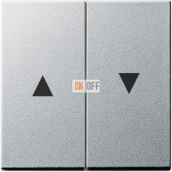 Выключатель для жалюзи (рольставней) кнопочный, цвет Алюминий, Gira