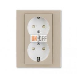 Розетка 2-ая электрическая с заземлением с защитными шторками, цвет Макиато/Белый, Levit, ABB