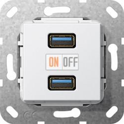 Розетка USB 2-ая (разъем), цвет Белый, Gira