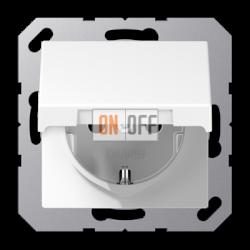 Розетка 1-ая электрическая , с заземлением и крышкой , цвет Белый, A500, Jung