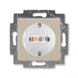 Розетка 1-ая электрическая , с заземлением и защитными шторками (безвинтовой зажим), цвет Макиато/Белый, Levit, ABB