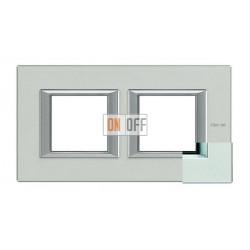 Рамка 2-ая (двойная) прямоугольная, цвет Жемчужное серебро, Axolute, Bticino