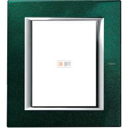 Рамка итальянский стандарт 3+3 мод прямоугольная, цвет Малахит, Axolute, Bticino