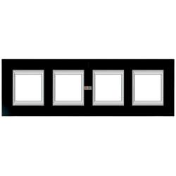 Рамка 4-ая (четверная) прямоугольная, цвет Стекло Черное, Axolute, Bticino