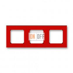 Рамка 3-ая (тройная), цвет Красный/Дымчатый черный, Levit, ABB