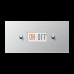 Выключатель 1-кл перекр. + Выключатель 1-кл кноп. НО (тумблер-цилиндр) гориз, цвет Алюминий, LS1912