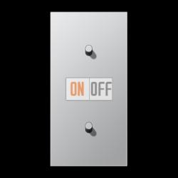 Выключатель 1-кл перекр. + Выключатель 1-кл кноп. НО (тумблер-цилиндр) верт, цвет Алюминий, LS1912