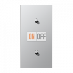 Выключатель 1-кл кноп. + Выключатель 1-кл кноп. (тумблер-цилиндр) верт, цвет Алюминий, LS1912
