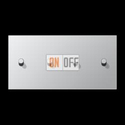 Выключатель 2-кл + Выключатель 2-кл кноп. НО (тумблер-цилиндр) гориз, цвет Алюминий, LS1912