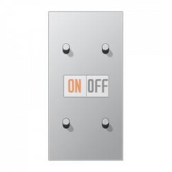 Выключатель 2-кл + Выключатель 2-кл кноп. НО (тумблер-цилиндр) верт, цвет Алюминий, LS1912