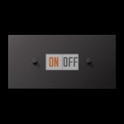 Выключатель 1-кл кноп. НО + Выключатель 1-кл кноп. НО (тумблер-цилиндр) гориз, цвет Dark, LS1912