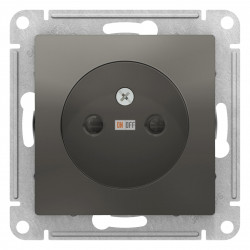 Розетка 1-ая электрическая без заземления с защитными шторками, Сталь, серия Atlas Design, Schneider Electric