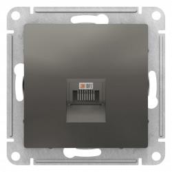 Розетка компьютерная 1-ая кат.5е, RJ-45 (интернет), Сталь, серия Atlas Design, Schneider Electric