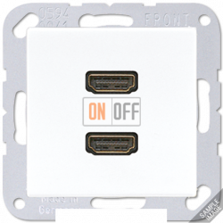 Розетка HDMI 2-ая (разъем), цвет Белый, A500, Jung
