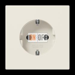 Розетка 1-ая электрическая , с заземлением и защитными шторками (безвинтовой зажим), цвет Бежевый, LS990, Jung