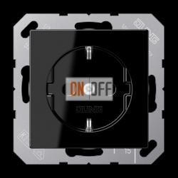 Розетка 1-ая электрическая , с заземлением (безвинтовой зажим), цвет Черный, A500, Jung