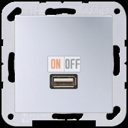 Розетка USB 1-ая, цветАлюминий,A500,Jung