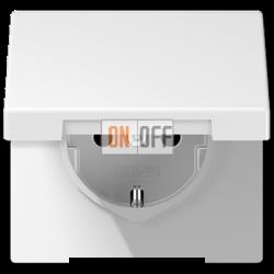 Розетка 1-ая электрическая , с заземлением и крышкой , цвет Белый, LS990, Jung