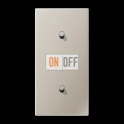Выключатель 1-кл перекр. + Выключатель 1-кл кноп. (тумблер-цилиндр) верт, цвет Нерж. сталь, LS1912