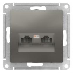 Розетка компьютерная 2-ая кат.5е, RJ-45 (интернет), Сталь, серия Atlas Design, Schneider Electric