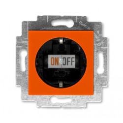 Розетка 1-ая электрическая , с заземлением и защитными шторками (безвинтовой зажим), цвет Оранжевый/Дымчатый черный, Levit, ABB