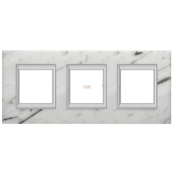 Рамка 3-ая (тройная) прямоугольная, цвет Белый мрамор Каррара, Axolute, Bticino