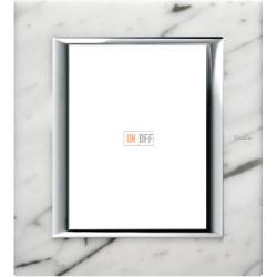 Рамка итальянский стандарт 3+3 мод прямоугольная, цвет Белый мрамор Каррара, Axolute, Bticino