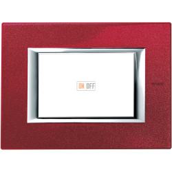 Рамка итальянский стандарт 3 мод прямоугольная, цвет Рубин, Axolute, Bticino