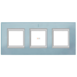 Рамка 3-ая (тройная) прямоугольная, цвет Стекло Голубое, Axolute, Bticino