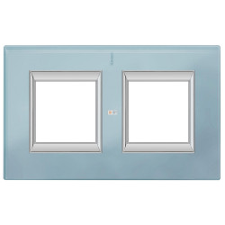 Рамка 2-ая (двойная) прямоугольная, цвет Стекло Голубое, Axolute, Bticino