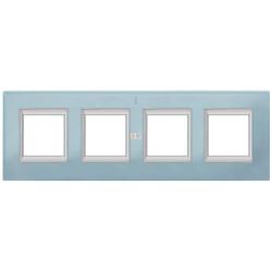 Рамка 4-ая (четверная) прямоугольная, цвет Стекло Голубое, Axolute, Bticino