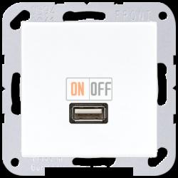 Розетка USB 1-ая (разъем), цвет Белый, A500, Jung