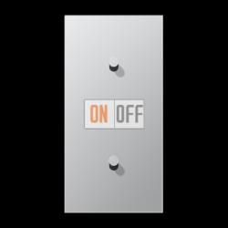 Выключатель 1-кл перекр. + Выключатель 1-кл кноп. (тумблер-конус) верт, цвет Алюминий, LS1912