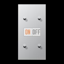 Выключатель 2-кл + Выключатель 2-кл кноп. НО (тумблер-конус) верт, цвет Алюминий, LS1912