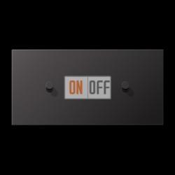 Выключатель 1-кл кноп. НО + Выключатель 1-кл кноп. НО (тумблер-конус) гориз, цвет Dark, LS1912