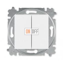 Выключатель 2-клавишный проходной (с двух мест), цвет Белый/Белый, Levit, ABB