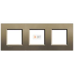 Рамка 3-ая (тройная) прямоугольная, цвет Коричневый шелк, LivingLight, Bticino