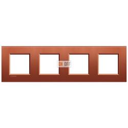 Рамка 3-ая (тройная) прямоугольная, цвет Красный шелк, LivingLight, Bticino