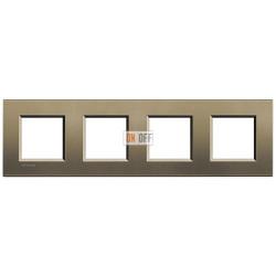 Рамка 4-ая (четверная) прямоугольная, цвет Коричневый шелк, LivingLight, Bticino