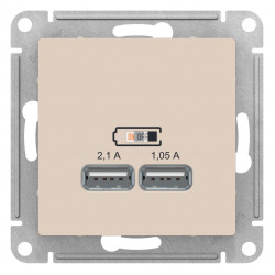 Розетка USB 2-ая 2100 мА (для подзарядки), Бежевый, серия Atlas Design, Schneider Electric