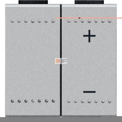 Диммер нажимной (кнопочный) 600Вт для ламп накаливания, цвет Алюминий, LivingLight, Bticino