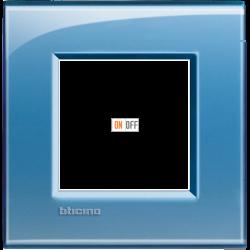 Рамка 1-ая (одинарная) прямоугольная, цвет Голубой, LivingLight, Bticino