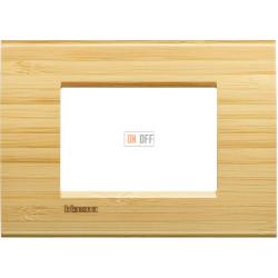 Рамка итальянский стандарт 3 мод прямоугольная, цвет Дерево Бамбук, LivingLight, Bticino