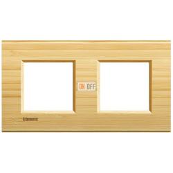 Рамка 2-ая (двойная) прямоугольная, цвет Дерево Бамбук, LivingLight, Bticino
